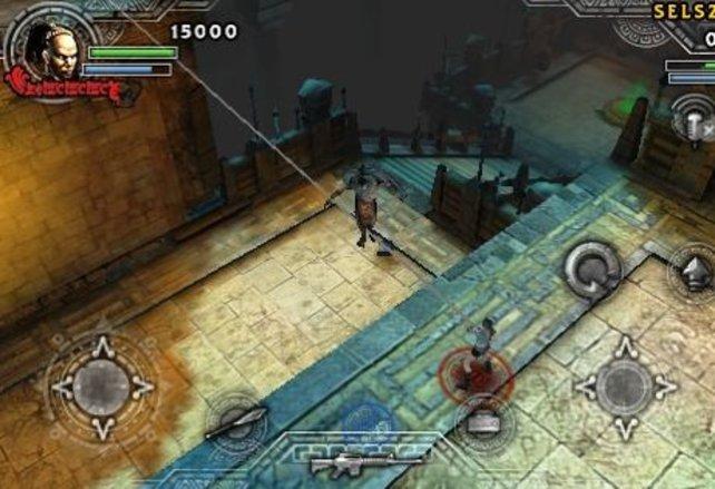 Neue Perspektive: Lara Croft wird von schräg oben begutachtet.