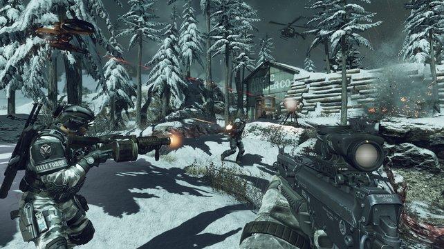 Sturmgewehr, Maschinenpistolen, Drohnen - Ein typisches Feuergefecht in Call of Duty - Ghosts.