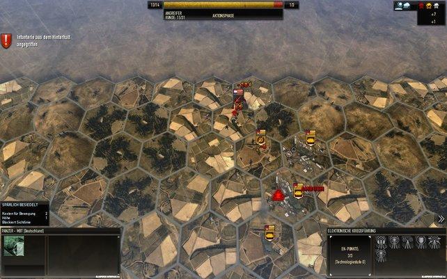 Kämpfe laufen auf eigenen Schlachtkarten ab, die in Sechsecke unterteilt sind.