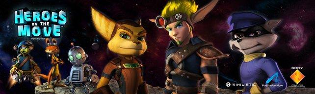 Sechs bekannte PlayStation-Helden in einem Spiel vereint.