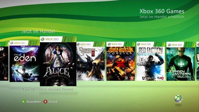 Übersichtlich präsentiert sich der Xbox Live Marktplatz.