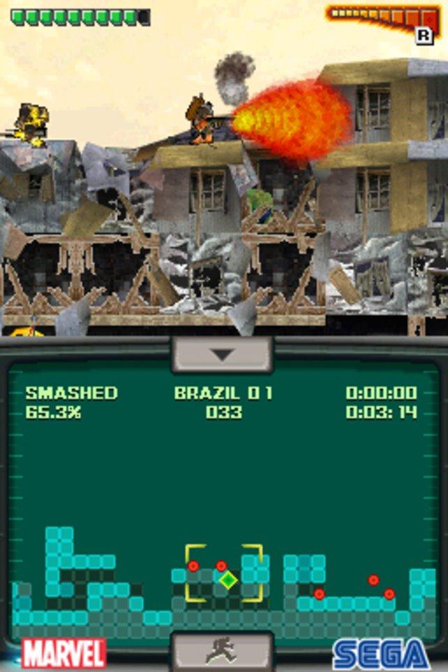 Auf dem oberen Screen ist die Action, auf dem unteren eine übersichtliche Levelkarte.