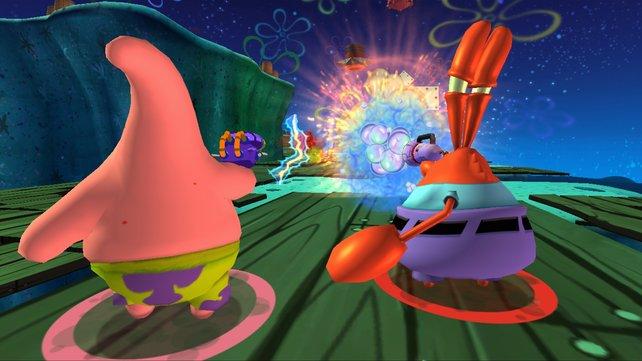 Wenn es knallt, dann aber richtig! Patrick und Mr. Krabs beim Aufräumen.