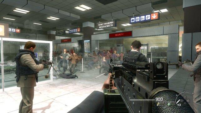 Im Flughafen-Level erlebt ihr ein Massaker an Zivilisten hautnah mit.