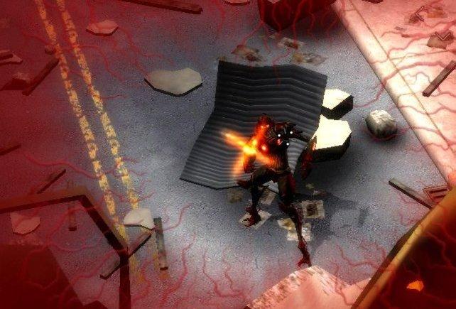 Gegenerische Treffer werden Shooter-typisch durch eine rote Bildschirmumrandung angezeigt