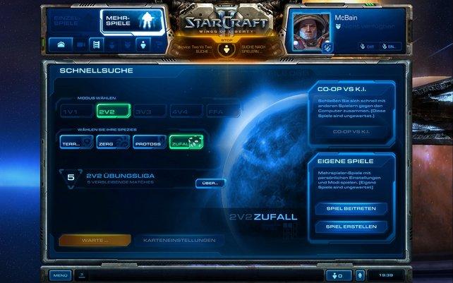 Das Multiplayer-Menü. Viele der Funktionen sind aber noch deaktiviert.