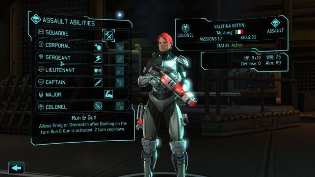 Alle Soldaten haben ein Herkunftsland, einen Spitznamen und viele Fähigkeiten, die sie für die Alienjagd qualifizieren.