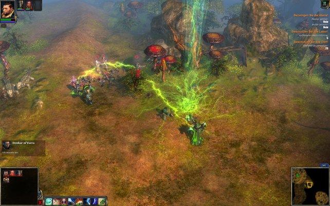 Über die kleinen Schaltflächen am unteren Bildschirmrand aktiviert ihr die Zauber der Helden.