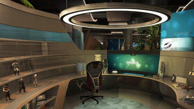 Euer Arbeitsplatz bei Abstergo Entertainment. Die Figuren links zeigen euch den Spielfortschritt an.