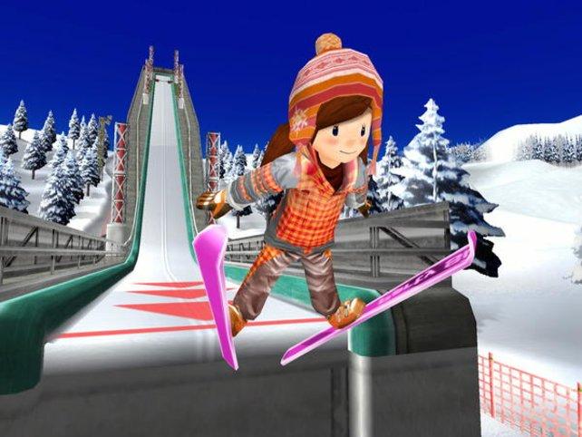 Beim Skispringen hebt ihr nacheinander ab.