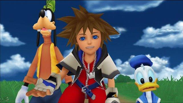 Dank grafischer Überarbeitung sehen Goofy, Sora und Donald auch in hoher Auflösung gut aus.