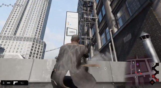 Auf der Flucht über den Dächern von Chicago.