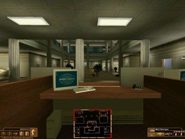 In einem Bürogebäude suchen wir Deckung