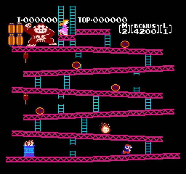 Der noch namenlose Mario feiert seine Premiere auf dem Donkey-Kong-Automaten.