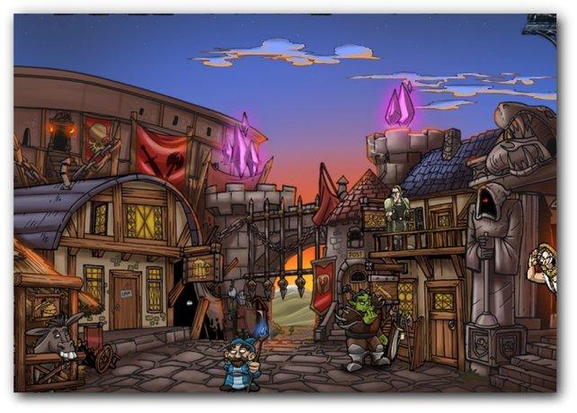 Die Stadt (das Spielmenü) in Shakes & Fidget - The Game.