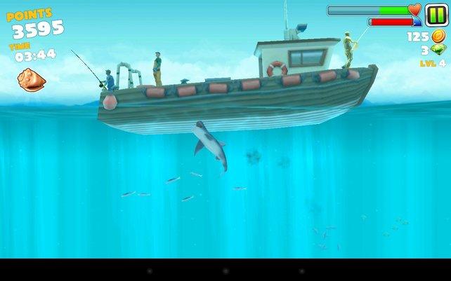 Sogar die Fischer auf dem Boot könnt ihr attackieren.