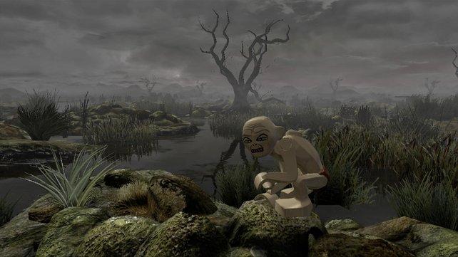 Gollum geleitet die Hobbits durch die Totensümpfe.
