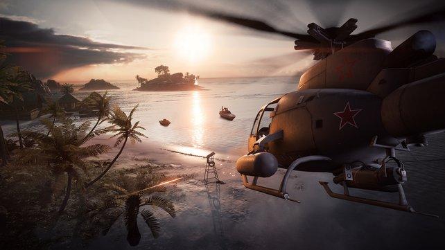 Diesen lästigen Hubschrauber schaltet ihr nun mit Hilfe der neuen Anti-Heli-Minen aus.