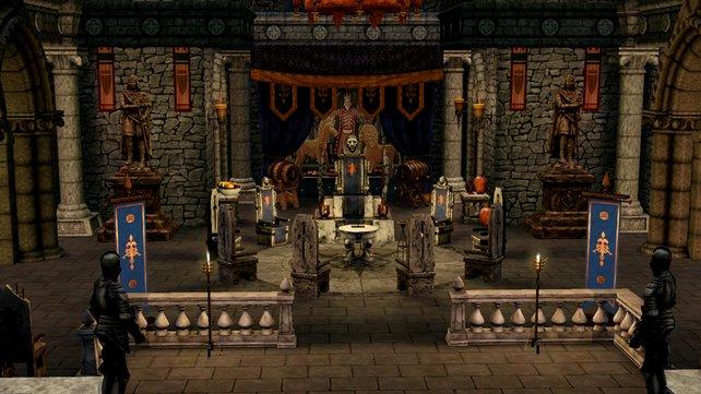 Der Thronsaal kann nach Themen eingerichtet werden - hier das Ritterthema.