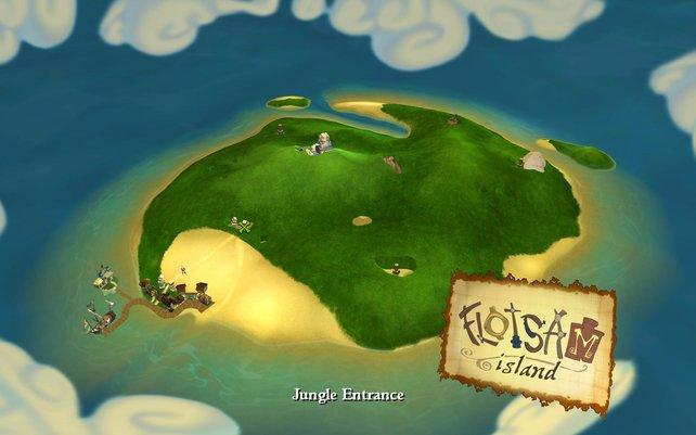 Überblick über die Insel Floatsam, auf der fast die gesamte Folge stattfindet.