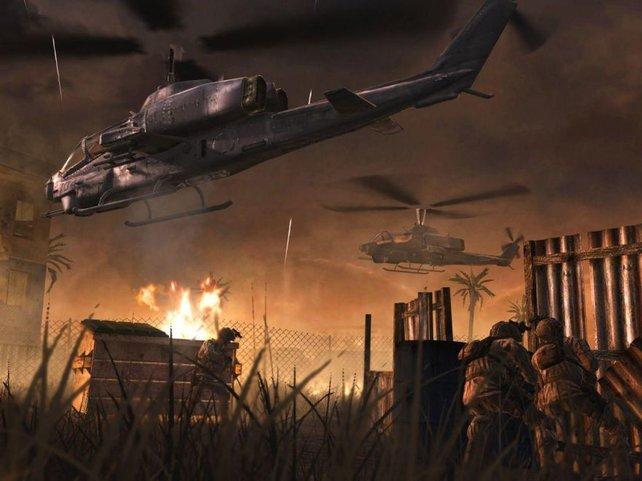 In einem Sumpf müßt ihr einen zerstörten Panzer verteidigen, mehrere Minuten rollen die Feindwellen.