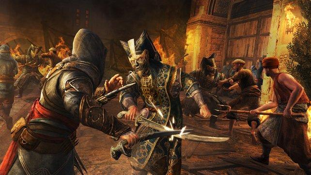 Ezio beschützt die Bevölkerung vor Angreifern.