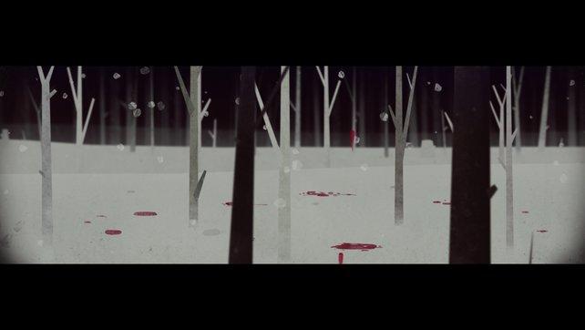 Blutbefleckter Schnee - die weiße Idylle trügt.