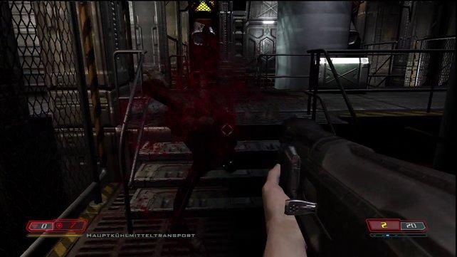 Gegner platzen. Wer nachlädt, läuft aber Gefahr, dass das Pixelblut sofort verschwindet (Bild aus Lost Missions).