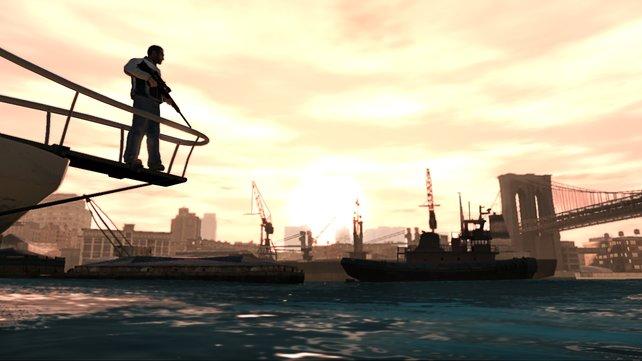 Vom Schiff habt ihr einen tollen Ausblick auf den Hafen von New York C... äh Liberty City.