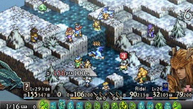 Auf solchen Schlachtfeldern kämpft ihr rundenbasiert gegen Feinde. Das funktioniert auf der kleinen PSP wunderbar.