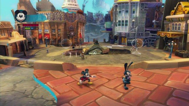Micky und Oswald retten die halb zerstörte Wasteland-Welt.