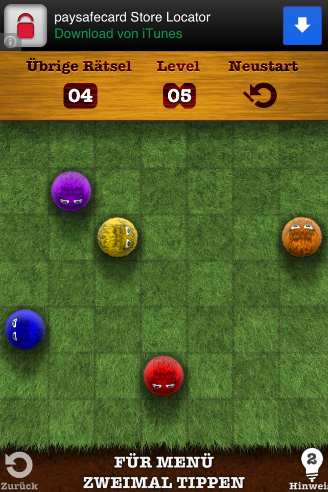 Hier könnt ihr mit dem orangen Ball alle anderen rauskegeln.