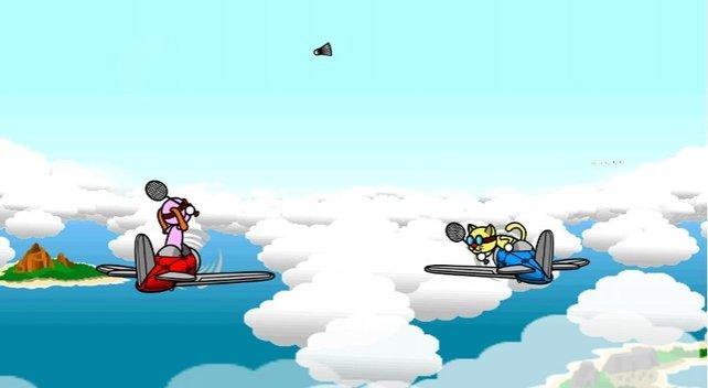 Federball im Flugzeug spielen - eine völlig normale Beschäftigung in Beat the Beat.
