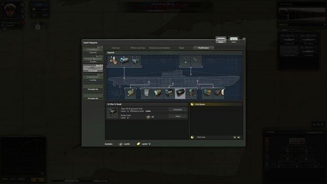 Ihr könnt eure U-Boote im Verlauf des Spiels mit besseren Materialien wie stärkeren Torpedos ausrüsten.