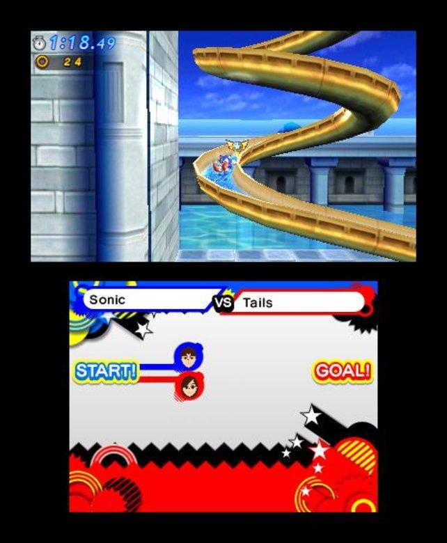 Sonic auf der Wasser-Rutsche.