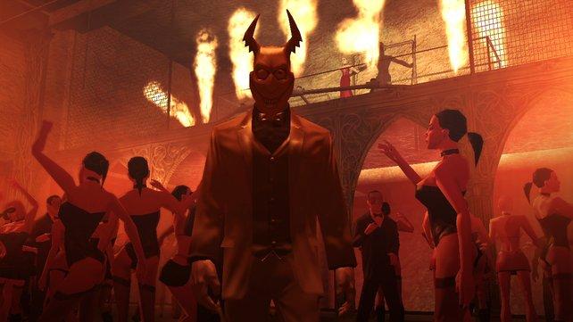 Auf einer Party in Hitman- Blood Money versteckt ihr euren Glatzkopf hinter einer Teufelsfratze.