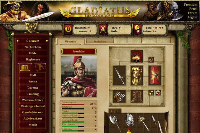 Ein gut ausgerüsteter Gladiator ist in der Arena gefürchtet.