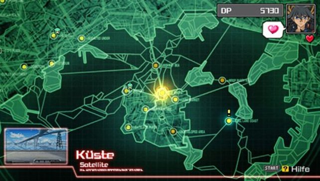 Karte der Stadtteile New Domino City und Satellite.