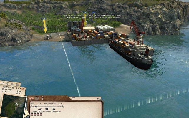 Am Hafen exportiert ihr Güter oder begrüßt neue Insulaner.