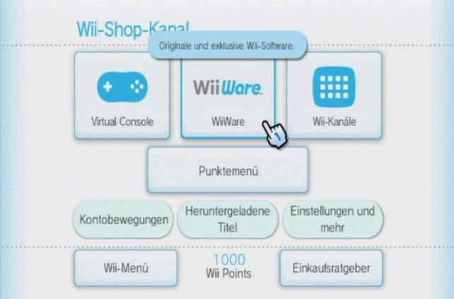 Im Wii-Shop-Kanal klickt ihr euch geduldig durch zahlreiche Untermenüs.