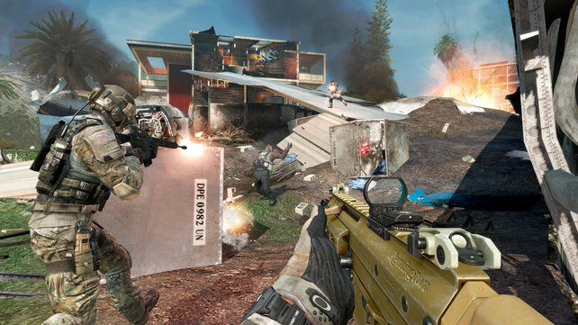 Mehrstöckige Gebäuderuinen und ein abgestürztes Flugzeug bilden den Hintergrund zu Black Box.