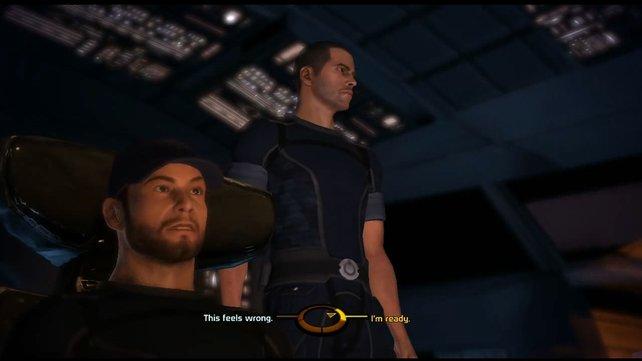 Der neue Kommandant an Bord der Normandy stellt sich vor.