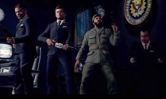 Prominenz im ersten Black Ops (von links): McNamara, Kennedy, Castro und Nixon.