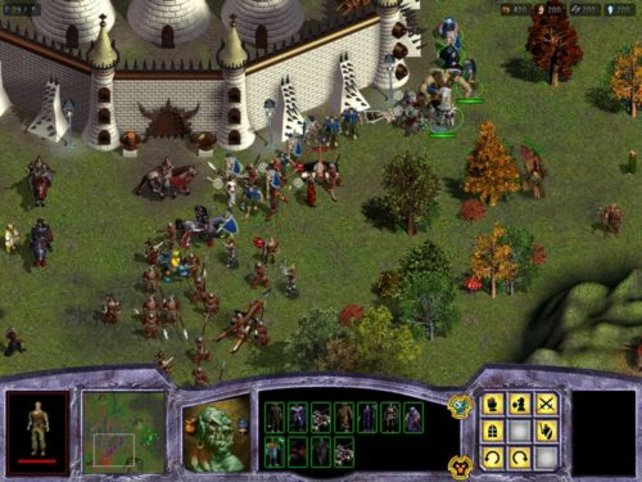 Eine wilde Schlacht vor dem Schloss.