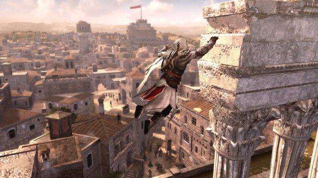 Kletterkönig Ezio wagt auch die halsbrecherischsten Sprünge.