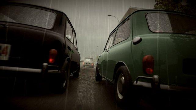 Regen wirkt sich merklich auf das Fahrverhalten aus.