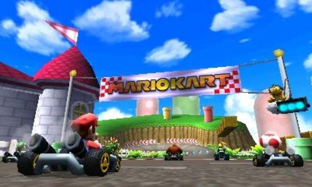 Mit Mario auf der Zielgeraden. Es gibt 16 Fahrer, 32 Strecken und Online-Modi.