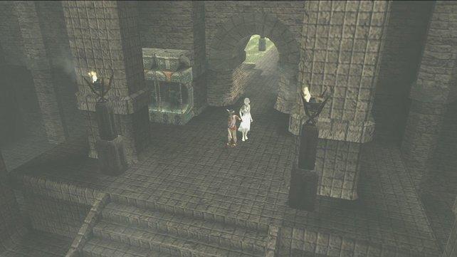 An vielen Stellen haltet ihr Yorda an der Hand, denn allein traut sie sich nicht zu gehen.