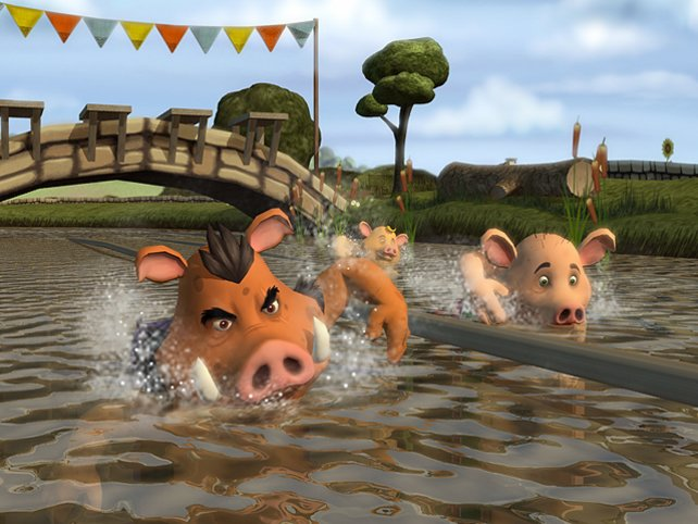 Wann das Schweineschwimmen wohl olympisch wird?