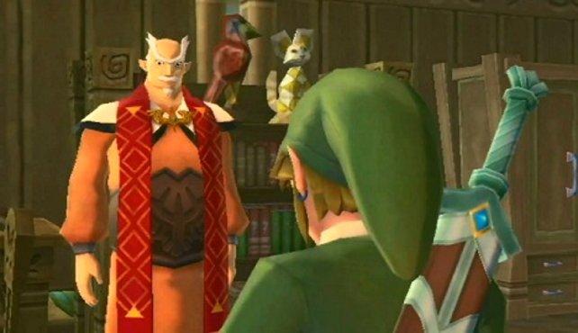 Link tauscht seine Alltagskleidung gegen dem Wams der Ritter von Wolkenhort.